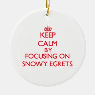Keep calm by focusing on Snowy Egrets Christmas Tree Ornament