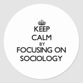 Keep calm by focusing on Sociology Round Stickers