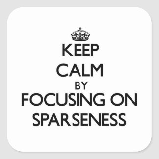 Keep Calm by focusing on Sparseness Square Stickers