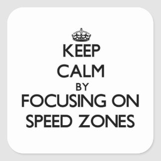 Keep Calm by focusing on Speed Zones Square Sticker
