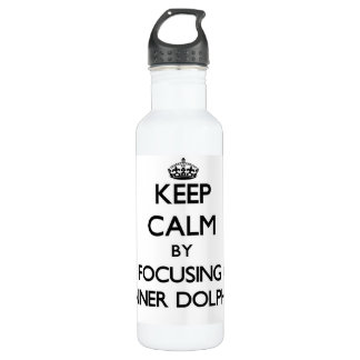 Keep calm by focusing on Spinner Dolphins 24oz Water Bottle