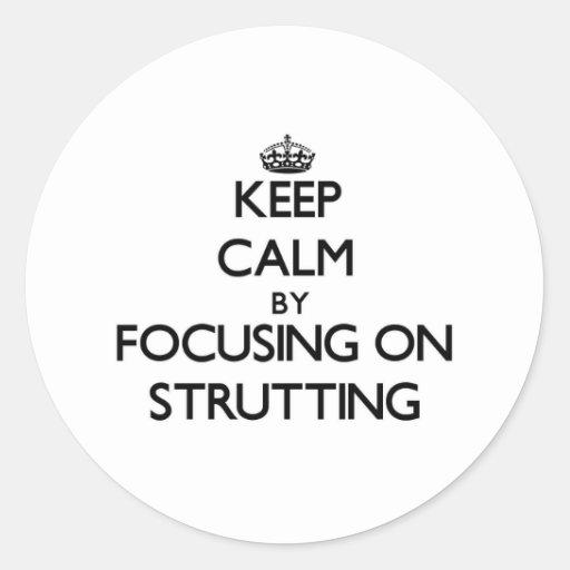 Keep Calm by focusing on Strutting Sticker