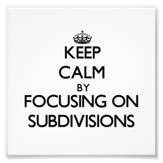 Keep Calm by focusing on Subdivisions Photo Print