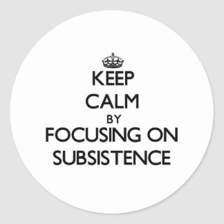 Keep Calm by focusing on Subsistence Classic Round Sticker