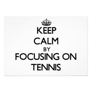 Keep Calm by focusing on Tennis Custom Invitation