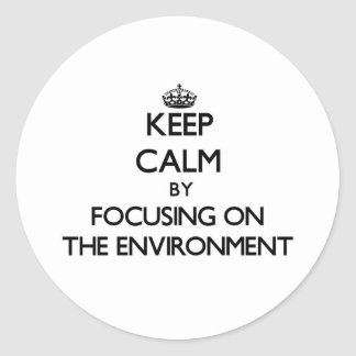Keep Calm by focusing on THE ENVIRONMENT Round Stickers