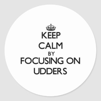 Keep Calm by focusing on Udders Classic Round Sticker