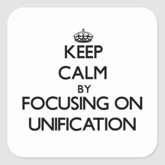 Keep Calm by focusing on Unification Sticker