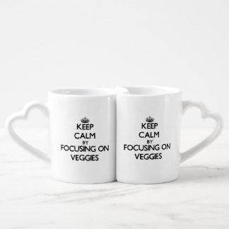 Keep Calm by focusing on Veggies Couples' Coffee Mug Set