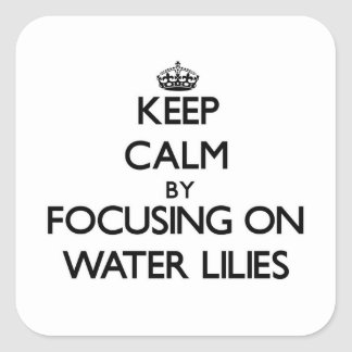 Keep Calm by focusing on Water Lilies Square Sticker