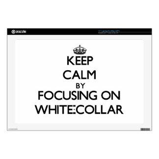 "Keep Calm by focusing on White-Collar 17"" Laptop Skin"