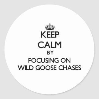 Keep Calm by focusing on Wild Goose Chases Round Sticker