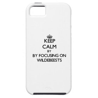 Keep calm by focusing on Wildebeests iPhone 5 Cover