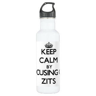 Keep Calm by focusing on Zits 24oz Water Bottle