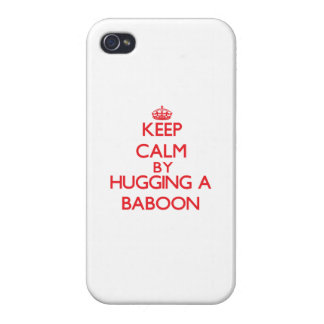 Keep calm by hugging a Baboon iPhone 4/4S Case