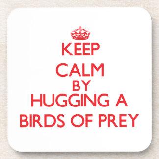 Keep calm by hugging a Birds Of Prey Beverage Coasters