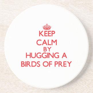Keep calm by hugging a Birds Of Prey Drink Coaster