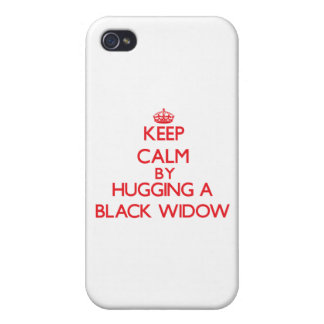 Keep calm by hugging a Black Widow iPhone 4 Cases