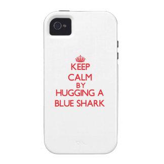 Keep calm by hugging a Blue Shark iPhone 4 Case