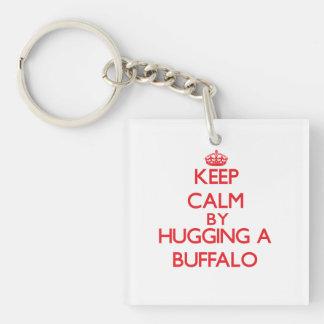Keep calm by hugging a Buffalo Single-Sided Square Acrylic Keychain