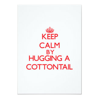 Keep calm by hugging a Cottontail 5x7 Paper Invitation Card