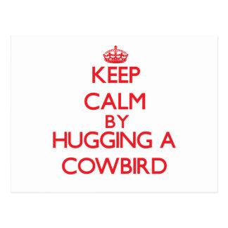 Keep calm by hugging a Cowbird Postcards