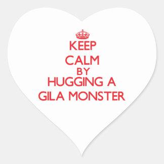 Keep calm by hugging a Gila Monster Heart Sticker