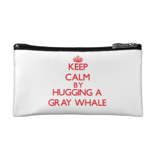 Keep calm by hugging a Gray Whale Cosmetics Bags