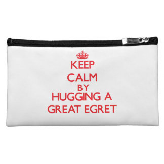 Keep calm by hugging a Great Egret Cosmetic Bag