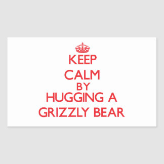 Keep calm by hugging a Grizzly Bear Stickers