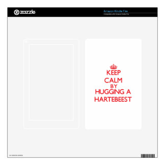 Keep calm by hugging a Hartebeest Decal For Kindle Fire