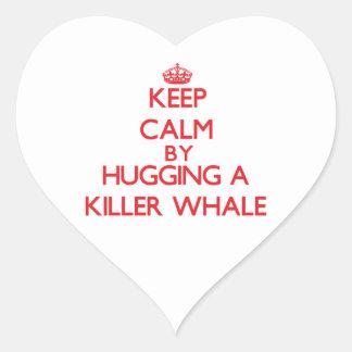 Keep calm by hugging a Killer Whale Heart Sticker