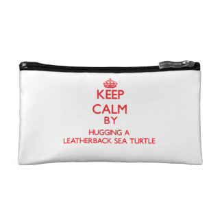 Keep calm by hugging a Leatherback Sea Turtle Makeup Bags