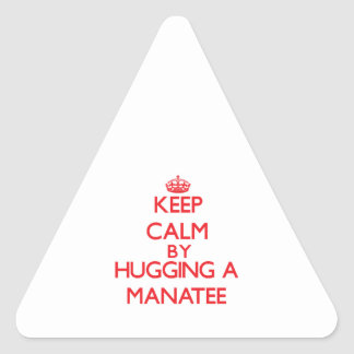 Keep calm by hugging a Manatee Triangle Sticker
