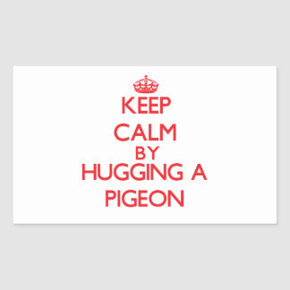 Keep calm by hugging a Pigeon Rectangular Stickers