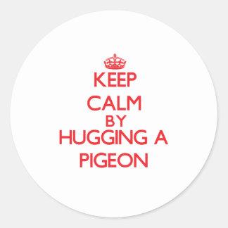 Keep calm by hugging a Pigeon Sticker