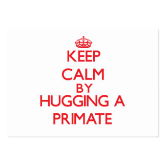 Keep calm by hugging a Primate Business Card Templates