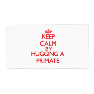 Keep calm by hugging a Primate Shipping Label