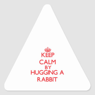 Keep calm by hugging a Rabbit Triangle Sticker