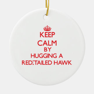 Keep calm by hugging a Red-Tailed Hawk Christmas Tree Ornaments