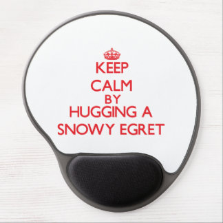 Keep calm by hugging a Snowy Egret Gel Mouse Mat
