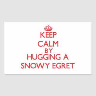 Keep calm by hugging a Snowy Egret Stickers
