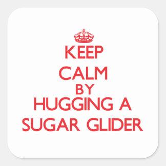 Keep calm by hugging a Sugar Glider Square Sticker