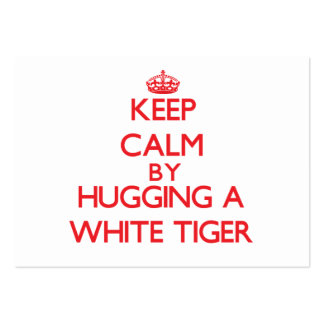 Keep calm by hugging a White Tiger Business Card Template