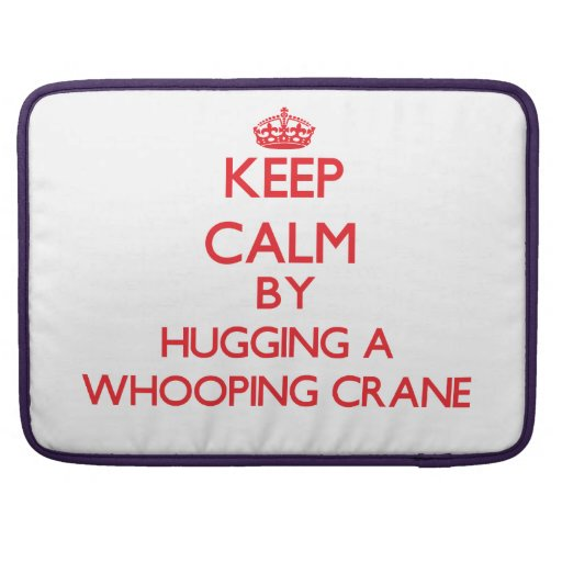 Keep calm by hugging a Whooping Crane Sleeves For MacBook Pro