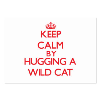 Keep calm by hugging a Wild Cat Business Card Templates