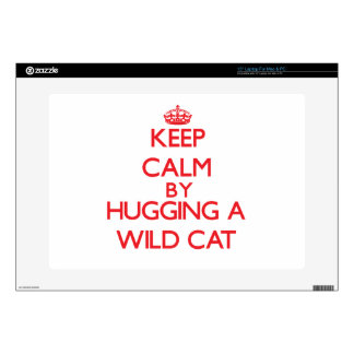 Keep calm by hugging a Wild Cat Laptop Skins