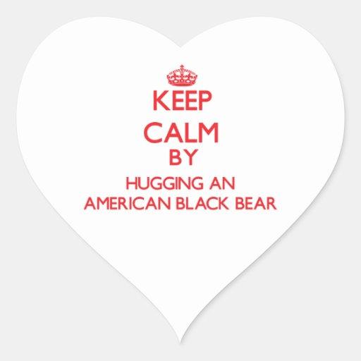 Keep calm by hugging an American Black Bear Stickers