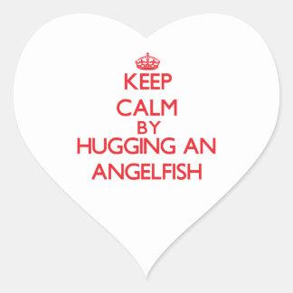 Keep calm by hugging an Angelfish Heart Sticker