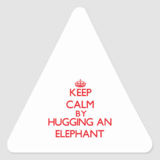 Keep calm by hugging an Elephant Triangle Stickers